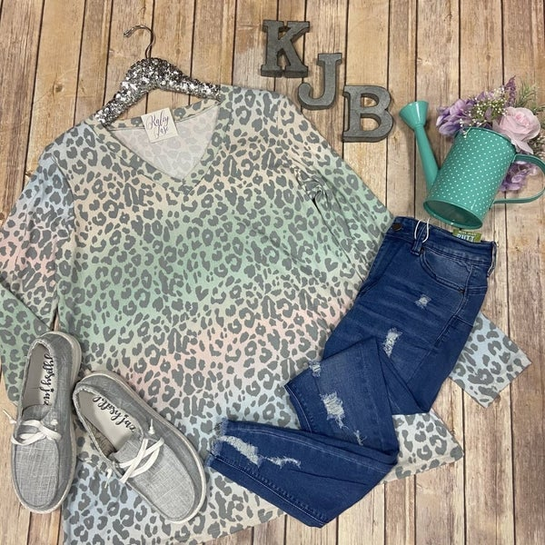 Pastel Ombre Leopard LS Top