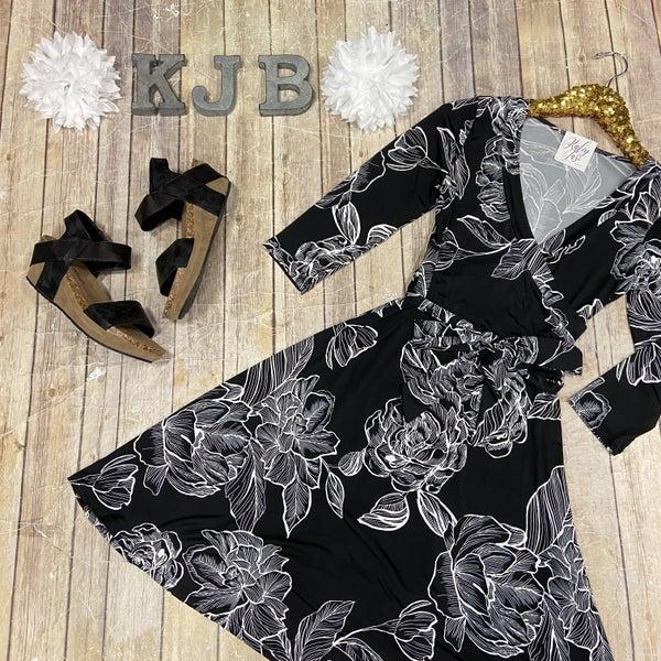 John 3:16 Black Flower Design Dress
