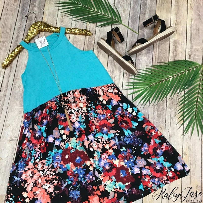 Mint Halter Floral Bottom Dress