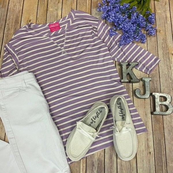 HM Lavender Ivory Striped Raglan Top