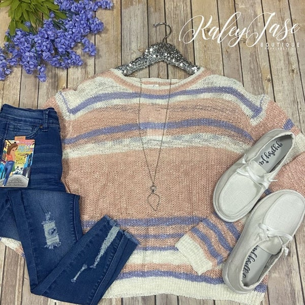 Peach Lavender Striped Knit Sweater