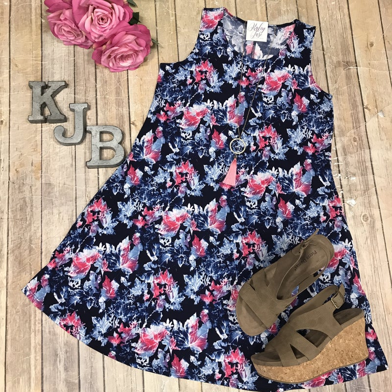 DEAL OF THE DAY Navy Leaves Dress