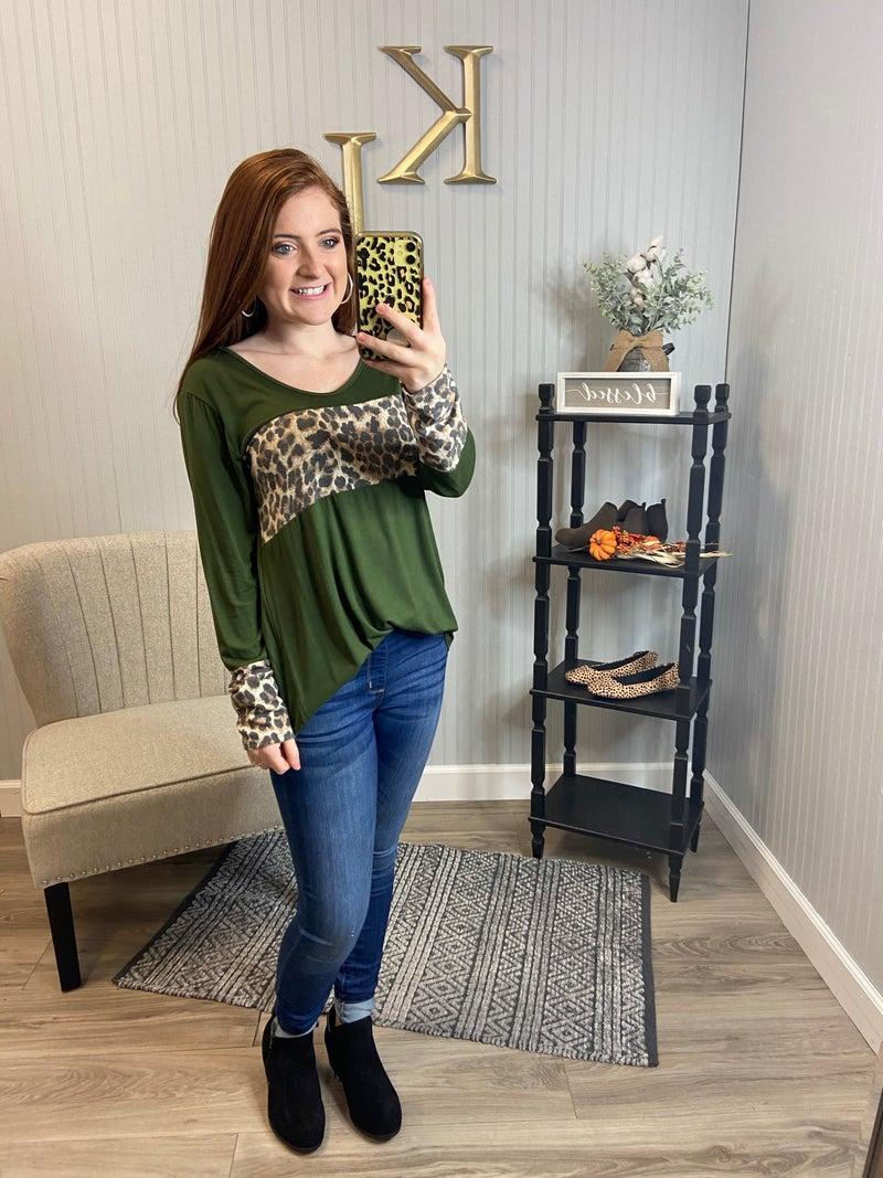 Leopard Colorblock Cuff Sleeve Top