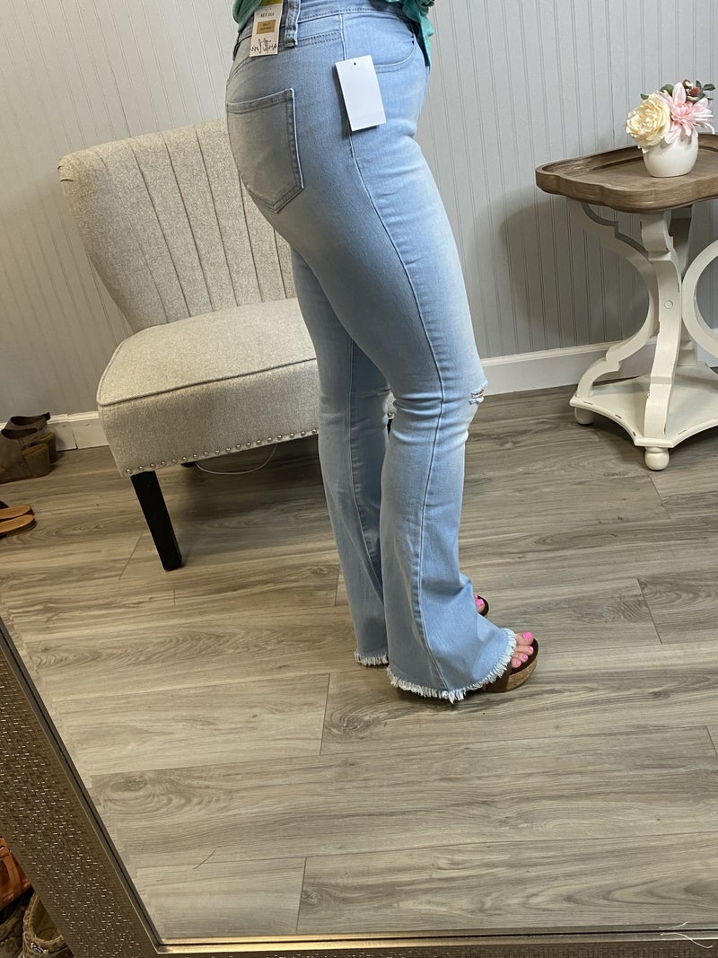 YMI High Rise Distressed Flare Jeans