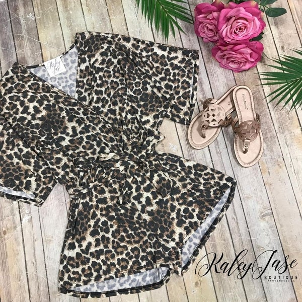 Leopard Wrap Tie Romper