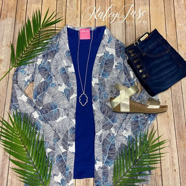 Blue Tropical Printed Cardigan