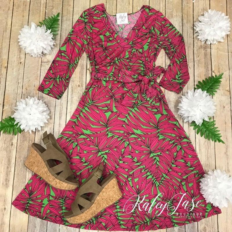 John 3:16 Fuchsia/Green Leaf Wrap Dress