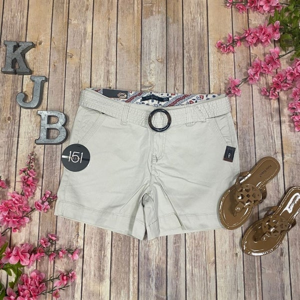 One5One Off White Belted Shorts