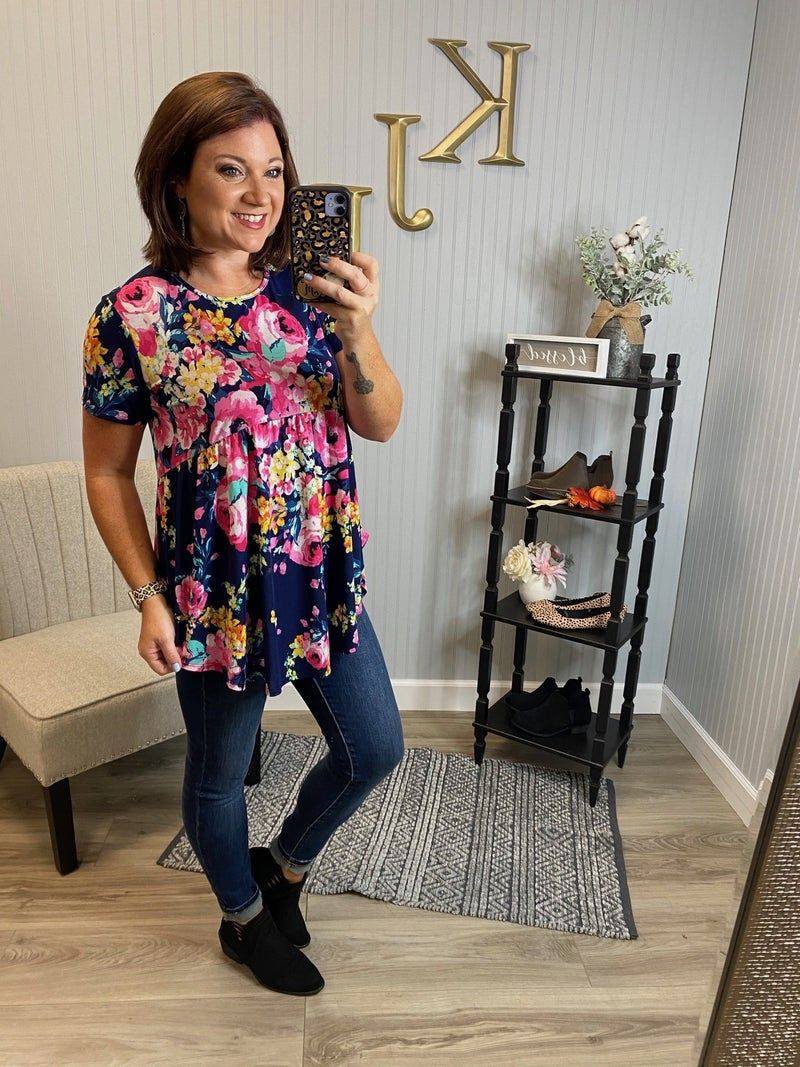 Navy Bright Floral Babydoll Top