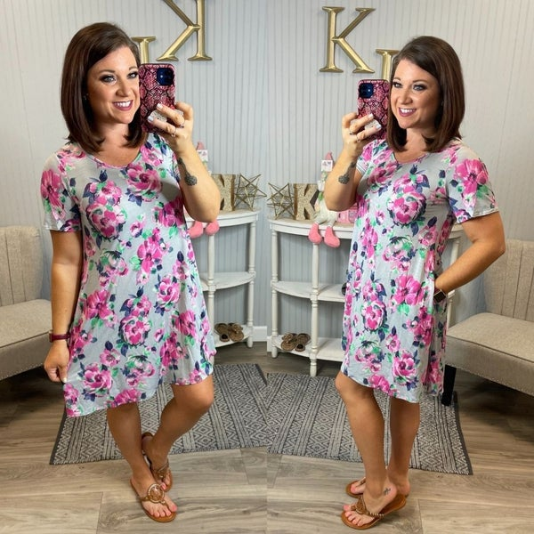 Grey Fuchsia Floral Dress