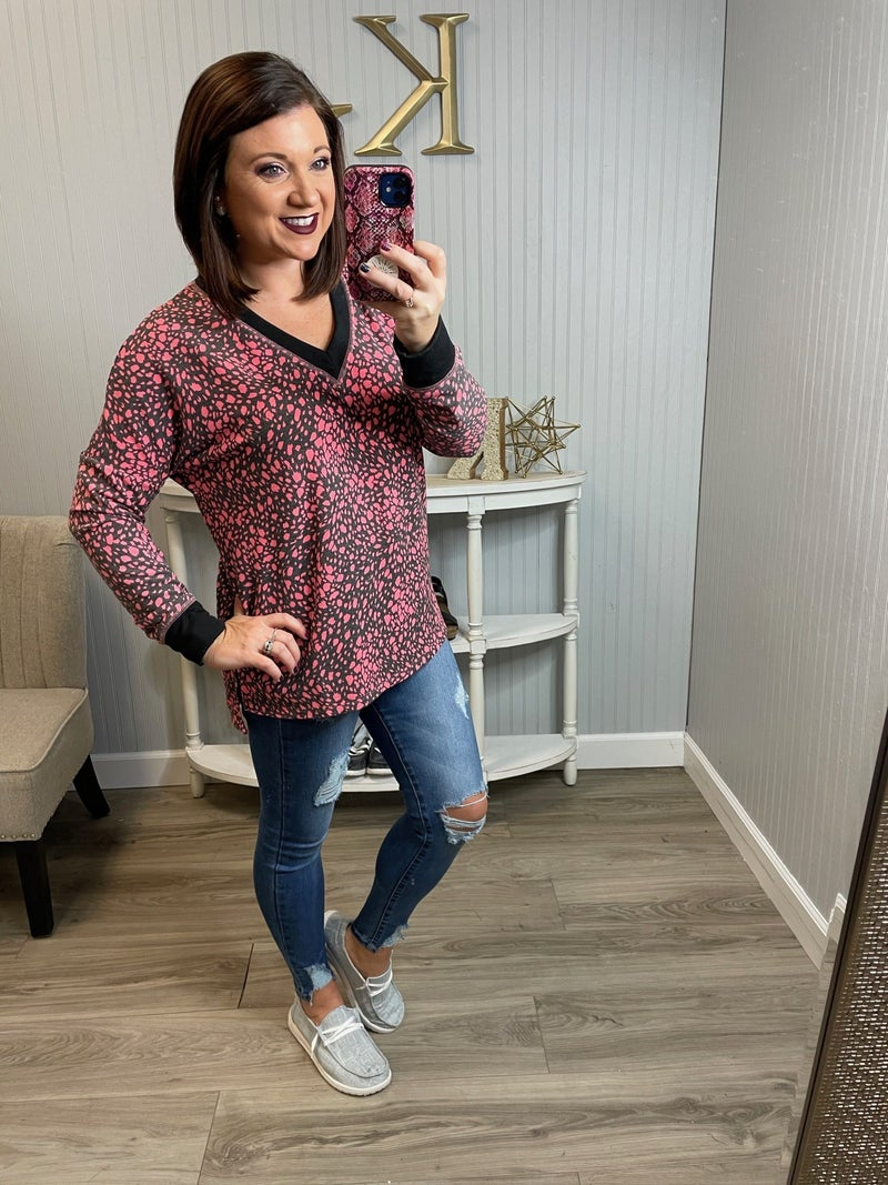 WB Black Neon Pink Spotted LS Top