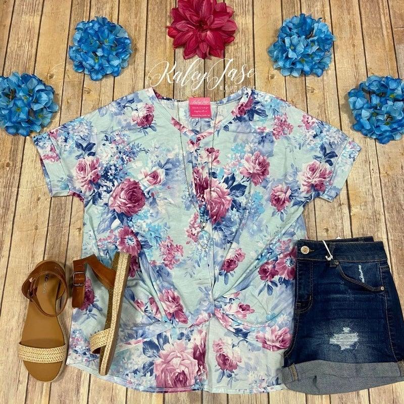 Mint Blue Floral V Twist Top
