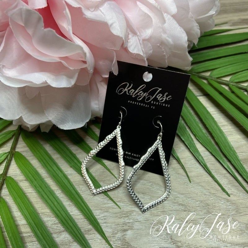 Silver Pointy Drop Dangle Earrings -B8