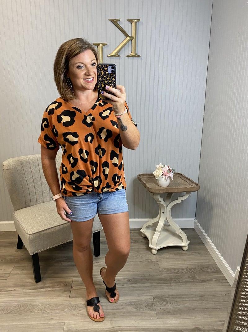 Modern Rust Leopard Twist Top