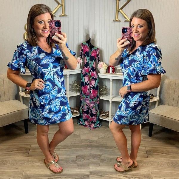Aryeh Seashell Brynn Ruffle Sleeve Dress