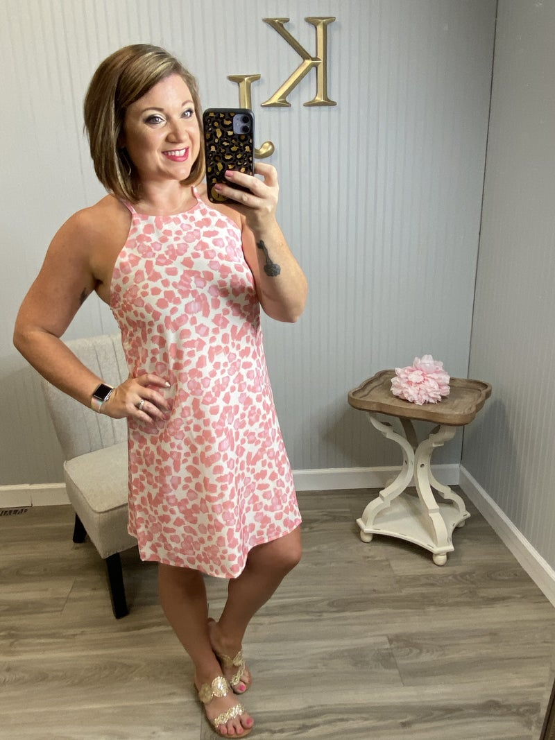 Pink Spotted Halter Dress