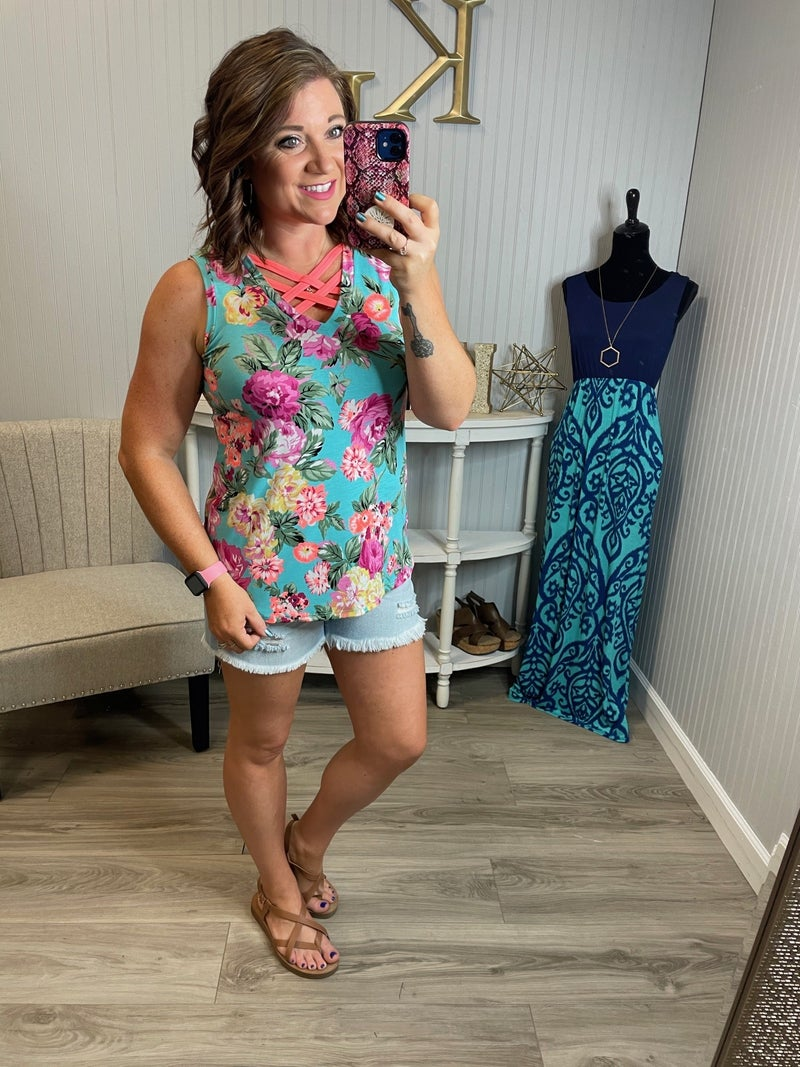 SIL Turquoise Neon Coral Floral Cross Over Tank