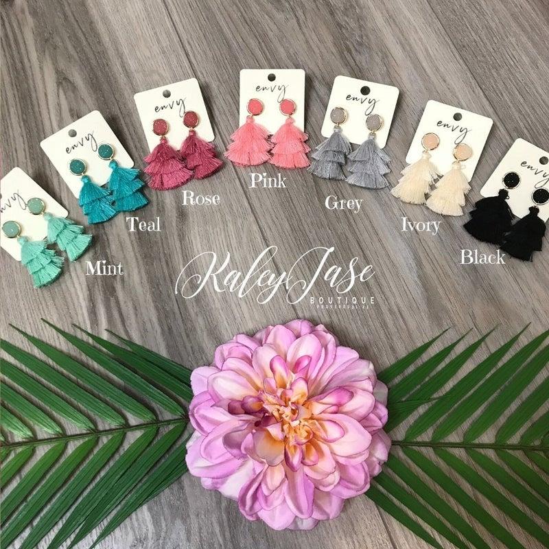 Druzy Tassel Earrings -YB4 & YB5