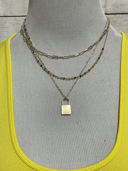 "16""-18"" Gold Triple Layered Lock Necklace with Multi Crystal"
