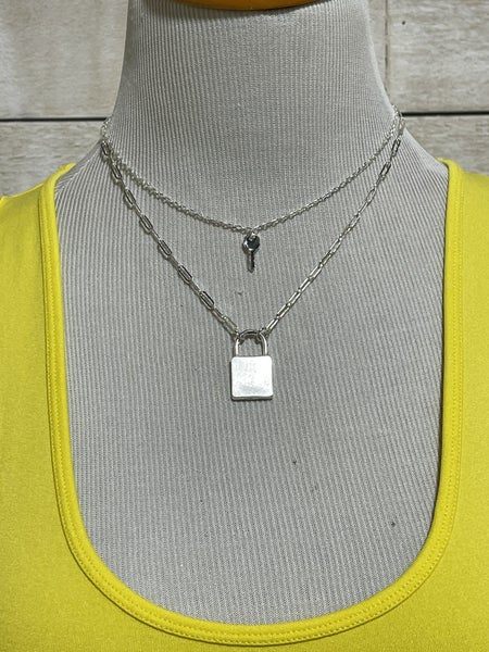 Matte Silver Layered Lock & Key Necklace
