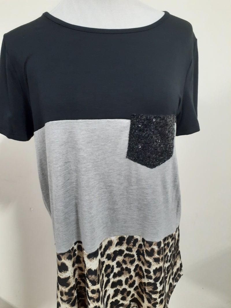 Cheetah Color Block Tee