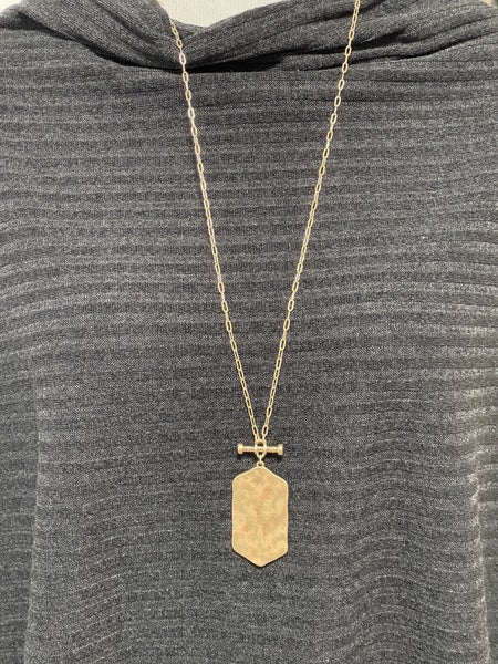 Hammered Hexagon Bar Pendant Necklace