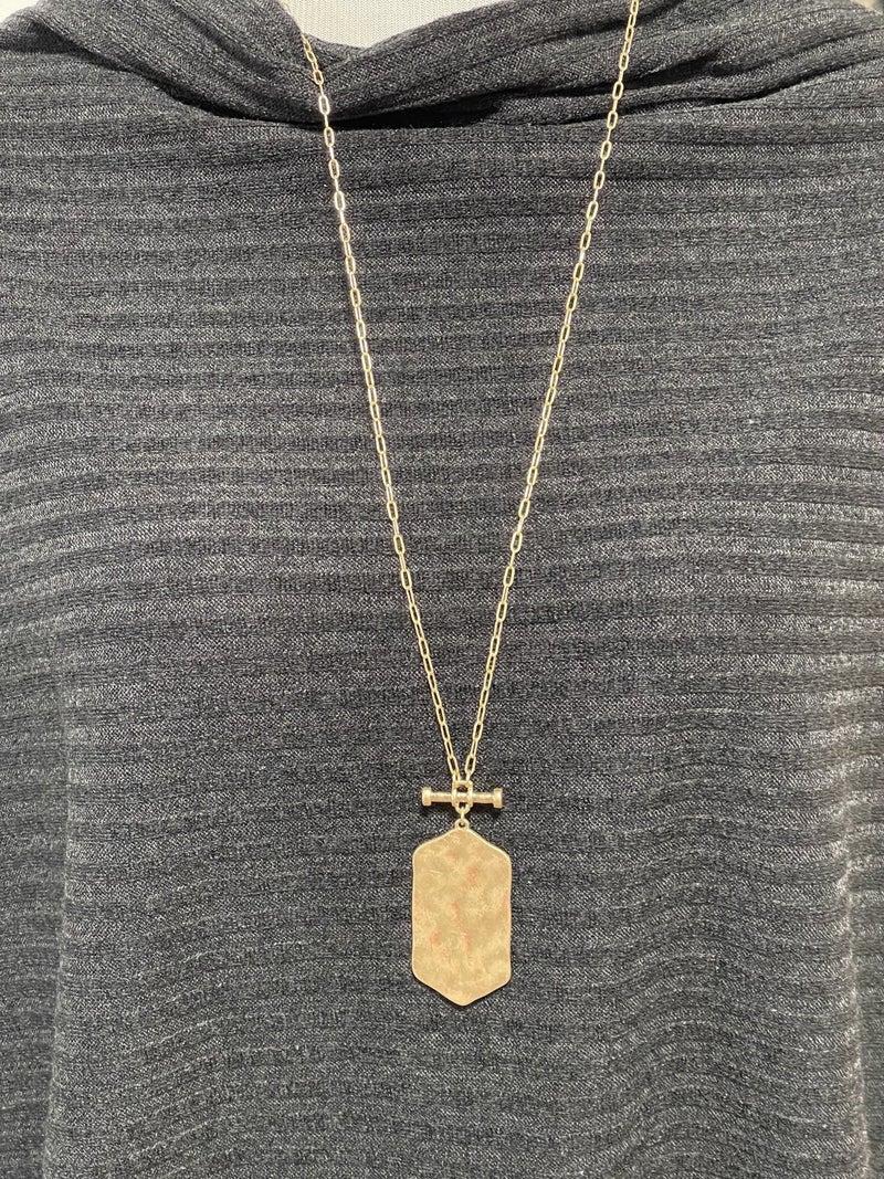 Hammered Hexagon Bar Pendant Necklace