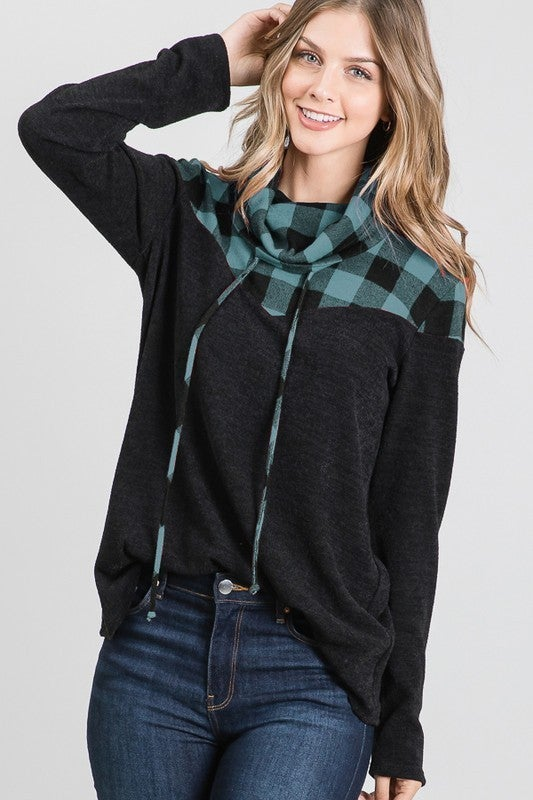 Plaid Turtle Neck Top