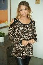 Cover Girl Leopard Cold Shoulder Top