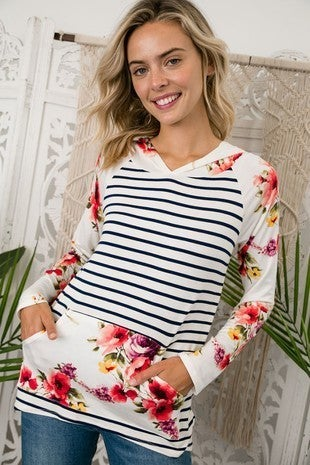 Stylish Mixed Stripe-Floral Hoodie