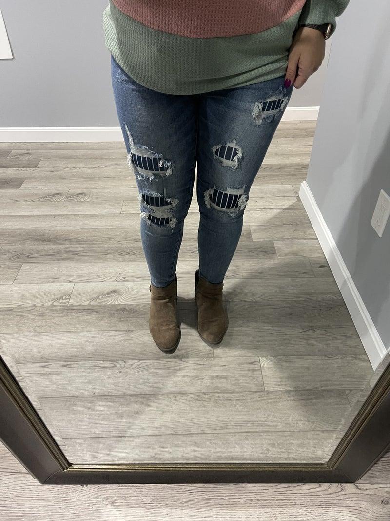 Pinstripe Patch Skinny Judy Blue Jeans