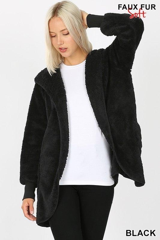 Long Sleeve Hooded Faux Fur Cocoon Jacket Pockets