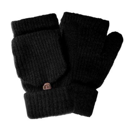 Fingerless Pop Top Knit Mittens