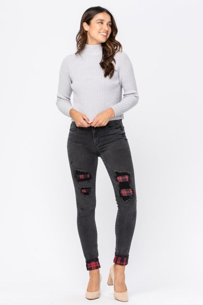 Black Destroy Buffalo Plaid Skinny Judy Blue