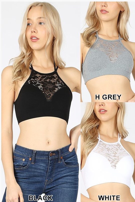 HIGH NECK LACE CUTOUT BRALETTE WITH BRA PADS