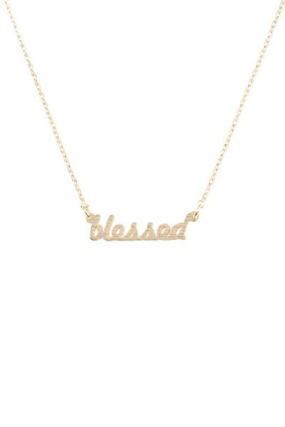 "Script ""Blessed"" Necklace"
