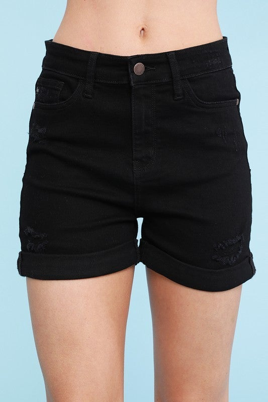 Distressed Hem Shorts