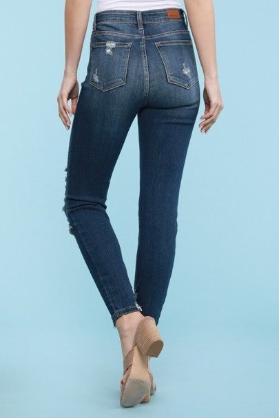High Rise Cropped Skinny Judy Blue Jeans