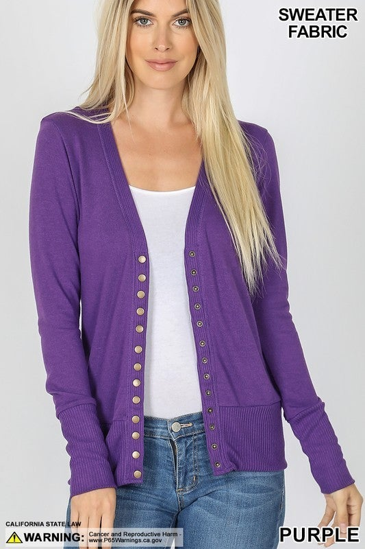 Snap Button Sweater Ribbed Cardigan