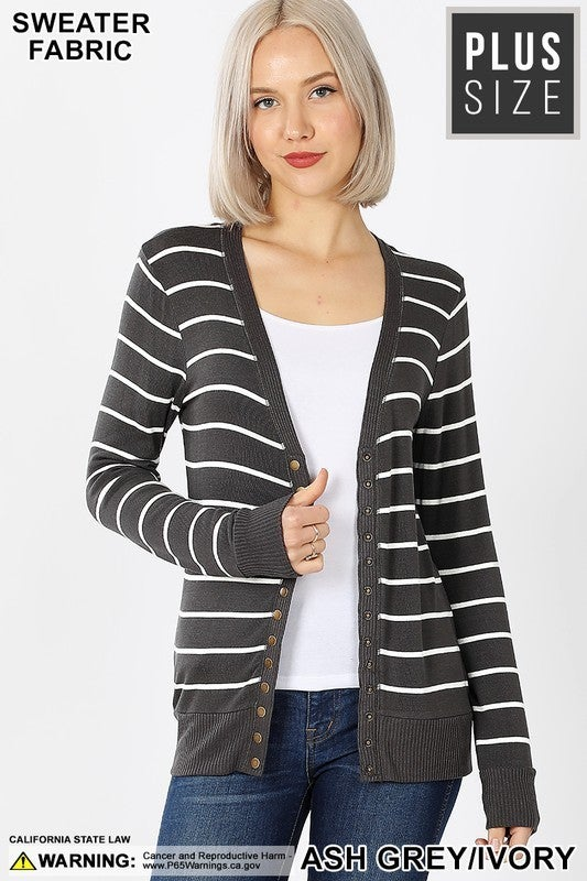 Striped Snapped Button Cardigan