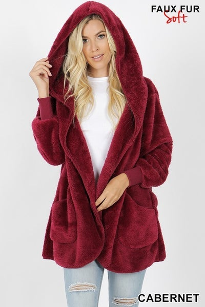 Long Sleeve Hooded Faux Fur Cocoon Jacket Pockets