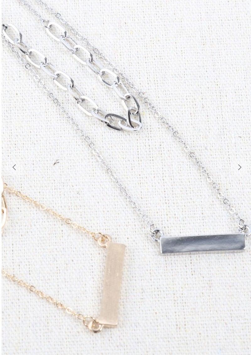Layered Bar Chain Necklace
