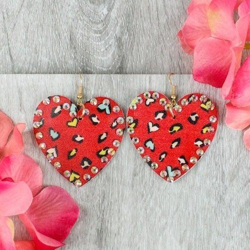 Heart Leopard Gem Earrings