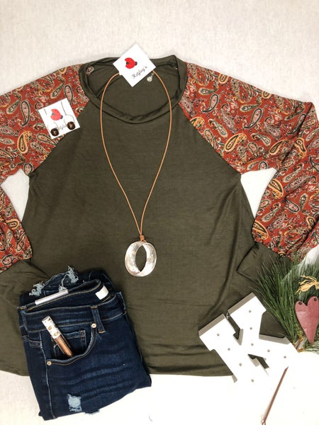 Paisley Olive Top