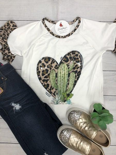 Girls Leopard Cactus Top