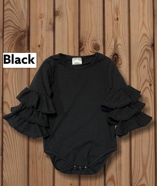 Black Onesie With Ruffle Sleeves