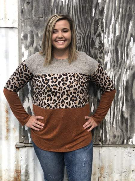 Suzi Leopard Colorblock Top