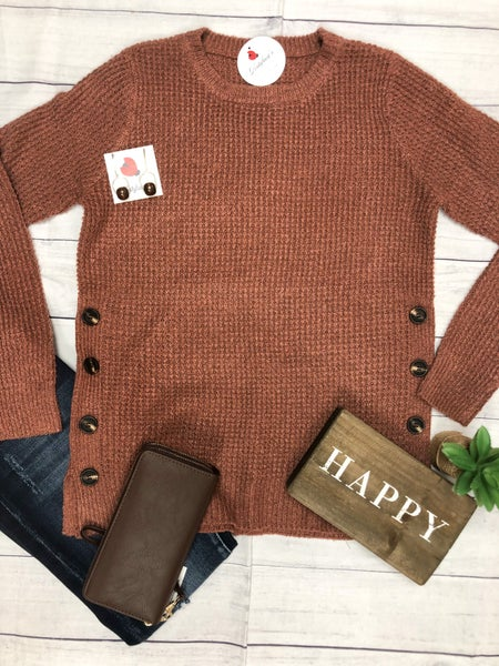 Sadie Side Button Knitted Sweater