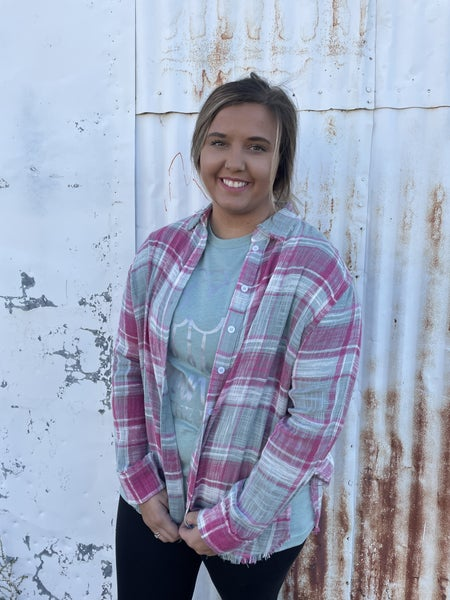 Paige Pink and Sage Button Up Top