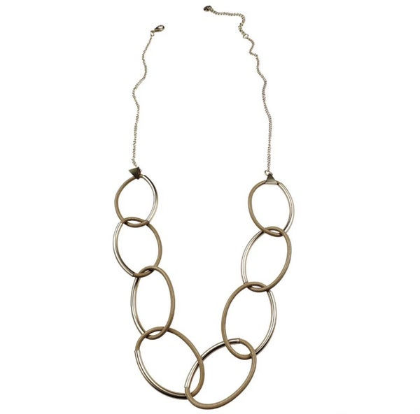 Gold And Leather Hoop Necklace